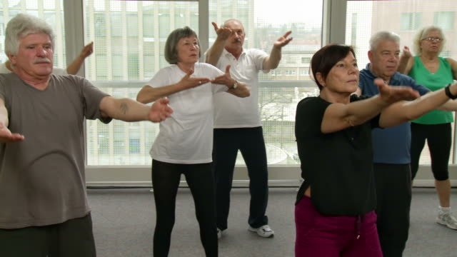 hd: group of seniors exercising with tai chi - community center stock videos and b-roll footage