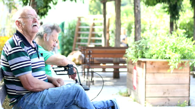 group of seniors relaxing outdoors in a park - pension stock videos & royalty-free footage