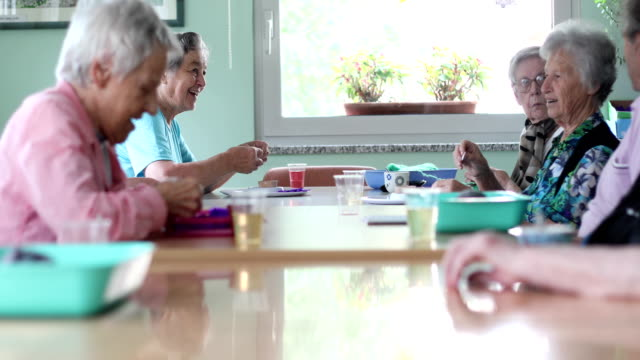 group of seniors socializing and doing hobbies - sheltered housing stock videos & royalty-free footage
