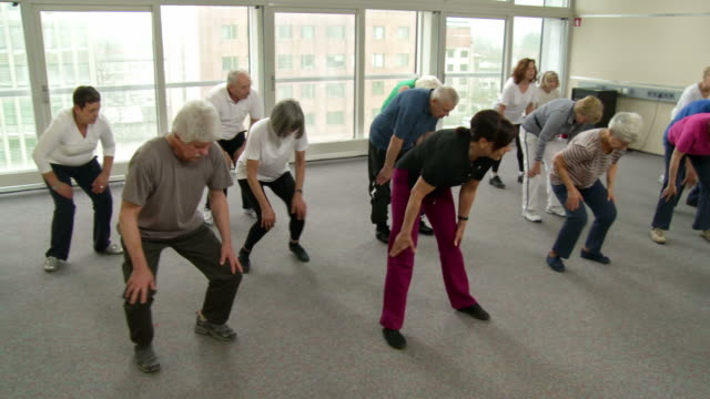 hd: group of seniors warming up - community center stock videos and b-roll footage