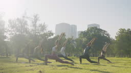 Group of six people mixed age people making yoga pose call Warrior pose in public park in city for fitness, sport, yoga and healthy lifestyle concept