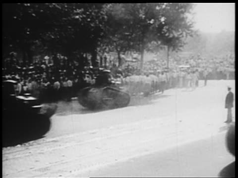 b/w 1932 group of small tanks driving down pennsylvania ave / bonus march / washington dc - 1932 stock videos and b-roll footage