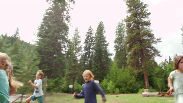 ms slo mo ts group of smiling young kids running race on grass field at summer camp - public park stock-videos und b-roll-filmmaterial