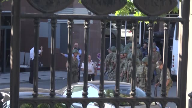 a group of soldiers attended parallel state/gulenist terrorist organizations coup attempt are being taken under custody at radiotelevision of turkey... - versöhnung stock-videos und b-roll-filmmaterial
