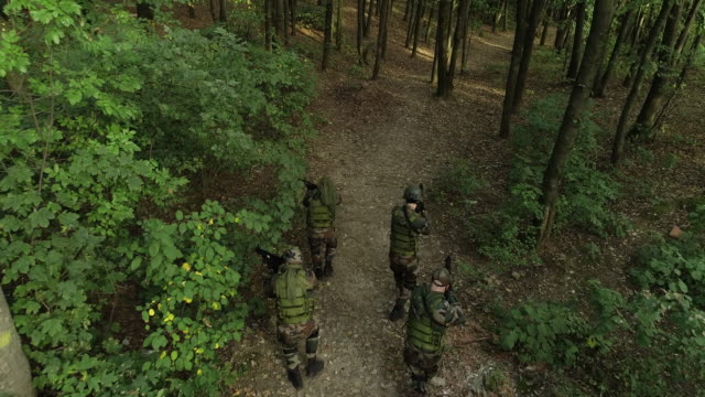 Group of soldiers in forest