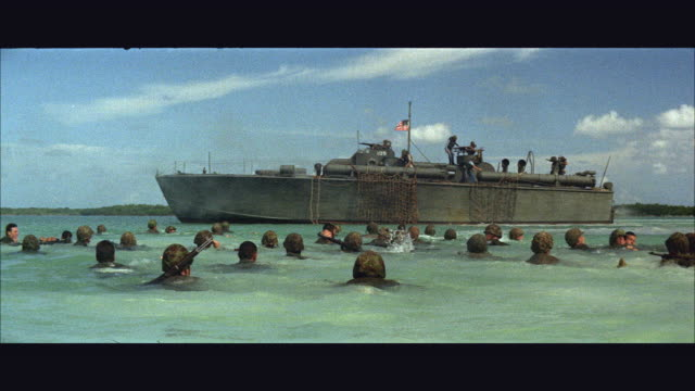 ws group of soldiers swimming to p-t boat / usa - us navy stock videos & royalty-free footage
