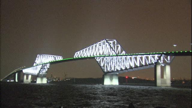 a group of spectators observe the illuminated tokyo gate bridge. - kantilever bildbanksvideor och videomaterial från bakom kulisserna