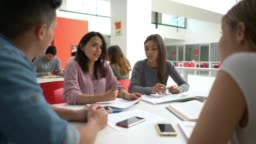 Group of students at the library having a discussion while pretty female student is pointing at something on a document all smiling