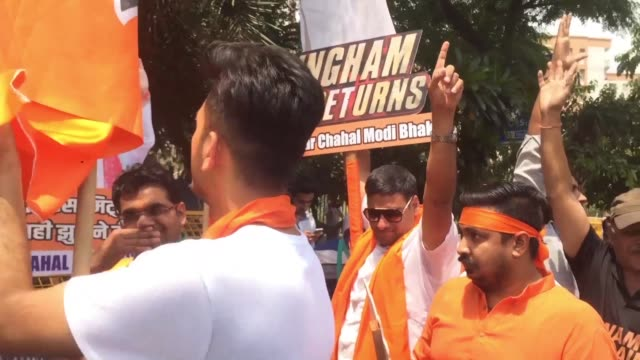 a group of supporters gather at the bharatiya janata party headquarters as indian prime minister narendra modi appears on course for a major victory... - patriotism stock videos & royalty-free footage