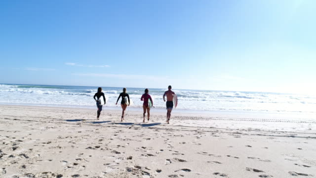group of surfers at the beach - young adult stock videos & royalty-free footage