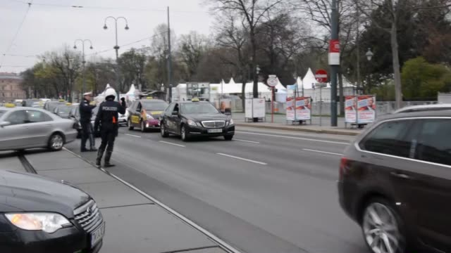 a group of taxi drivers protest against transport service uber in front of austrian presidential palace in vienna austria on april 01 2016 - austrian culture stock videos and b-roll footage