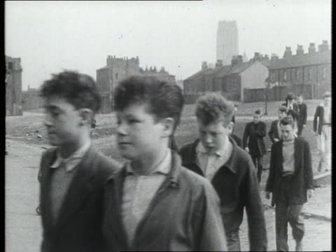 group of teenagers walking though town - 1950 1959 stock videos & royalty-free footage