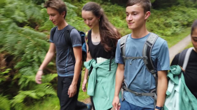group of teens hiking tied together at the feet - 縛られる点の映像素材/bロール