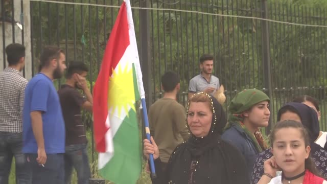 a group of terrorist pkk supporters held a demonstration in kirkuk iraq on april 26 2017 protestors hold a socalled pkk flag and ocalan posters the... - kurdistan workers party stock videos & royalty-free footage