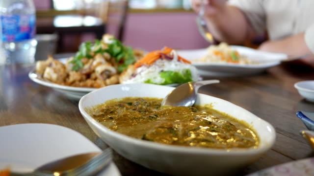 Group of Thai food dinner
