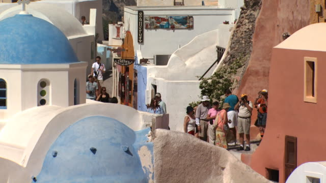 A group of tourists in Santorini