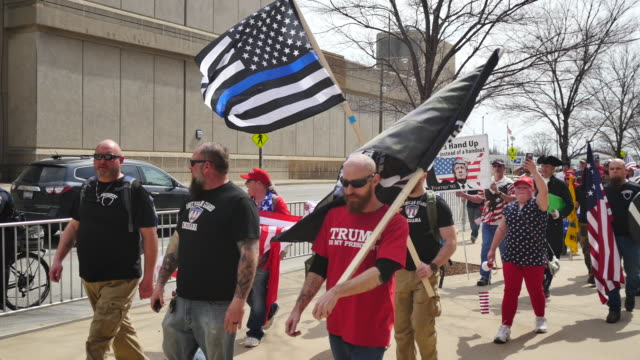 A group of Trump supporters and some members of a skinhead group called the Vinlanders Social Club march to the Indiana Statehouse The Facebook page...