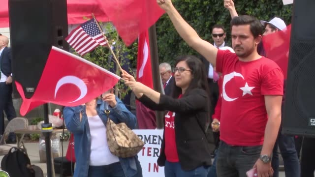 group of turks and armenians held demonstrations wednesday in front of the turkish embassy's residence in washington to mark the 104th anniversary of... - national security agency usa stock videos & royalty-free footage