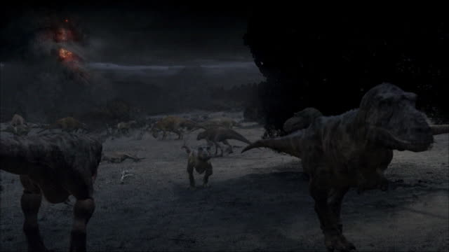CGI, MS, Group of Tyrannosaurus rexes watching volcano eruption