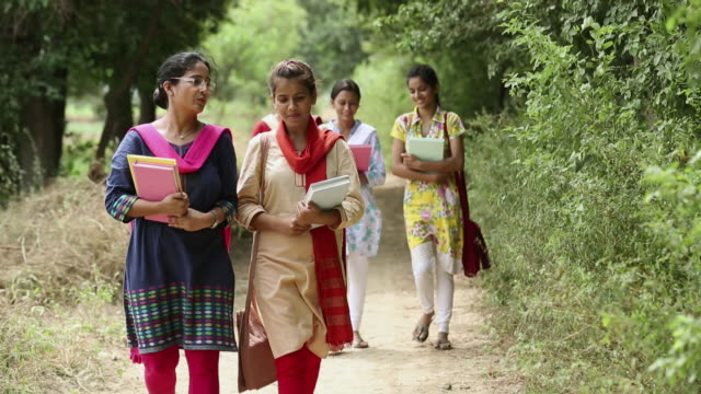 vídeos de stock, filmes e b-roll de group of university students walking, haryana, india - salwar kameez