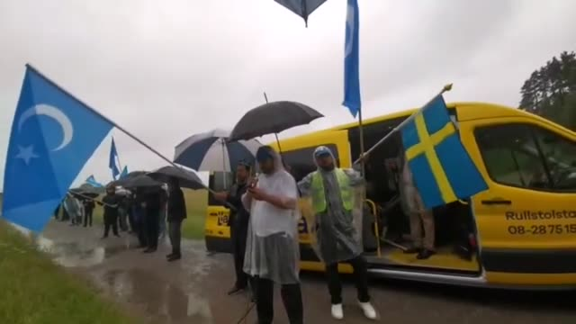 group of uygur turks staged a demonstration in stockholm on july 05, 2020 to protest china's policies toward east turkestan on the 11th anniversary... - china east asia stock videos & royalty-free footage