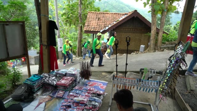 A group of visitors arrive at the Kalibiru Tourism Village in Kulon Progo Regency Special Region of Yogyakarta Indonesia on Saturday Feb 3 Visitors...
