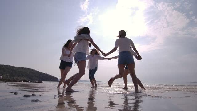 女性の友人のビーチのグループ - 思春期点の映像素材/bロール