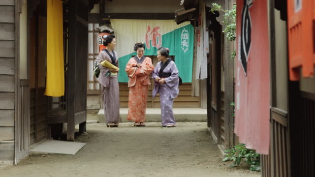group of woman in edo period village - reenactment stock videos & royalty-free footage