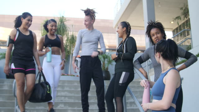 group of women after a successful training session - female friendship stock videos & royalty-free footage