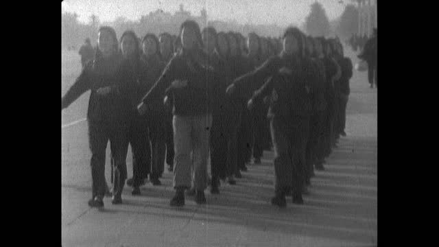 group of women exercise and march together in china; 1964 - tiananmen square stock videos & royalty-free footage