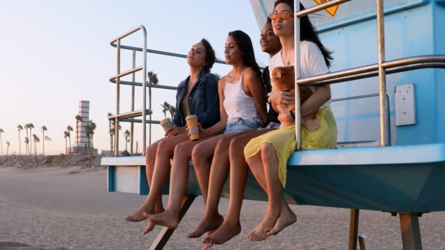 group of women friends on the beach in california - female friendship stock videos & royalty-free footage