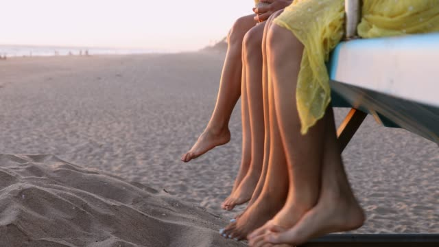 group of women friends on the beach in california - small group of people stock videos & royalty-free footage