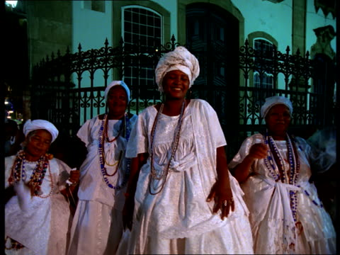 a group of women in white dresses dances during carnival. - bahia state stock videos and b-roll footage