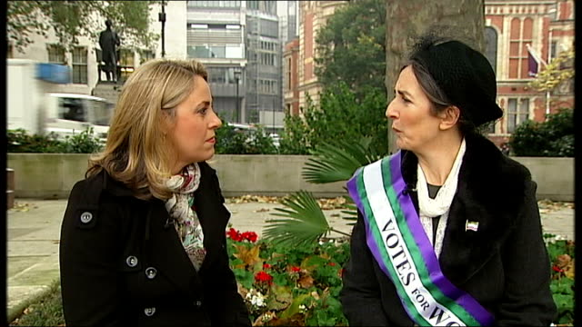 Group of women win equal pay appeal bid against Birmingham City Council Dr Helen Pankhurst interview with reporter in shot SOT Protesters holding one...