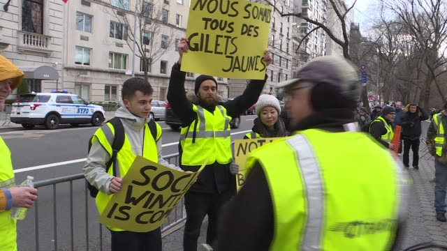 a group of yellow vest activists gather in front of the consulate general of france to support protestors in france on december 22 in new york united... - 2018 stock-videos und b-roll-filmmaterial
