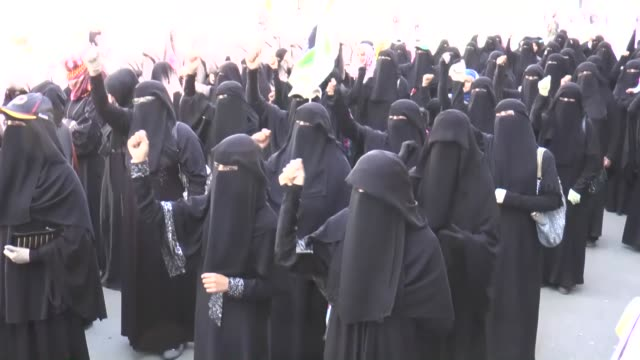 a group of yemeni women gather in capital sanaa to stage a protest against saudiled coalition's military operation 'decisive storm' against houthis... - saudi arabia stock videos & royalty-free footage