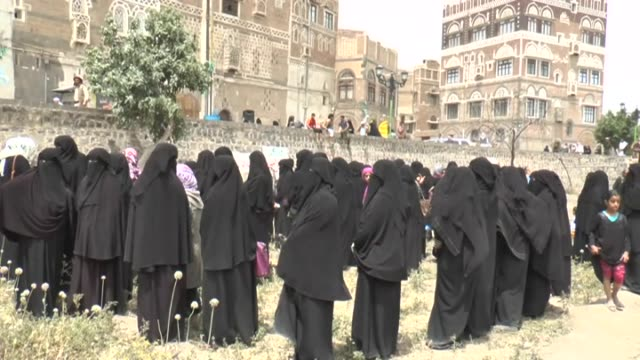 A group of Yemenis protest against the air strikes of Saudiled coalition in Sanaa Yemen on June 16 2015 Protesters gathered in front of the Old...
