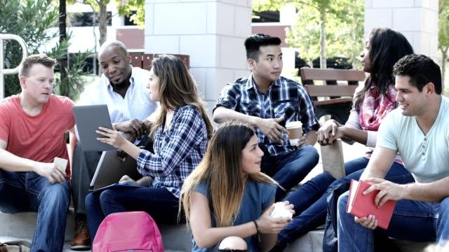 eine gruppe von jungen erwachsenen studenten auf dem campus. - akademisches lernen stock-videos und b-roll-filmmaterial