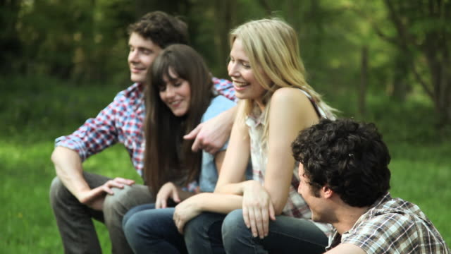 group of young adult friends laughing and smiling - guildford stock videos & royalty-free footage