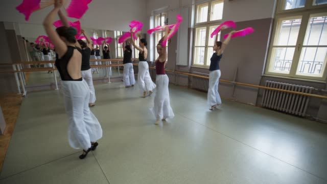 group of young ballerinas performing thire performance - ballet studio stock videos & royalty-free footage