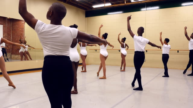 ms group of young ballet dancers practicing in dance studio - order stock videos & royalty-free footage