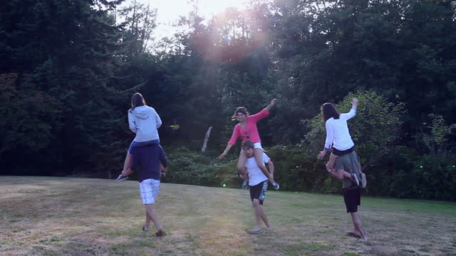 ws group of young couples in grass field women riding on men's shoulders arms outstretched/washington, usa - human limb stock videos & royalty-free footage