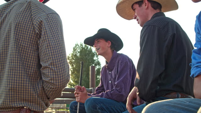 group of young cowboys hanging out together having fun in utah, usa - cowboy hat stock videos & royalty-free footage