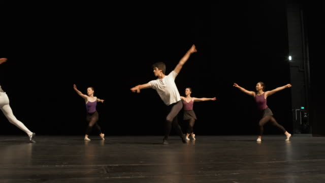 Group of young dancers rehearsing on stage.