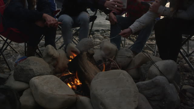 group of young family and friends sitting around campfire - storytelling stock videos and b-roll footage