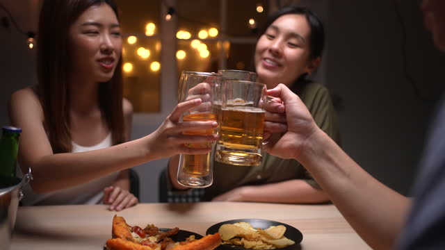 group of young friends making a toast with beer - 20 29 years stock videos & royalty-free footage