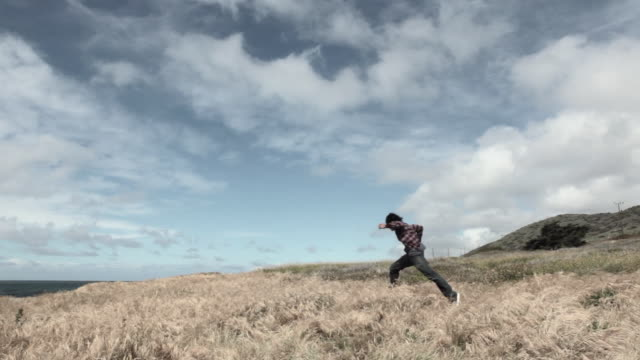 group of young friends running in field - heranlocken stock-videos und b-roll-filmmaterial