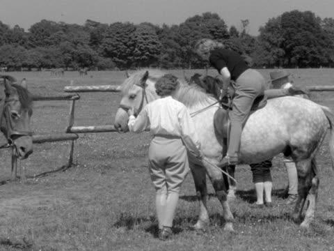 vídeos y material grabado en eventos de stock de a group of young people are given a horse riding lesson at the bisham national recreation centre - brida arnés