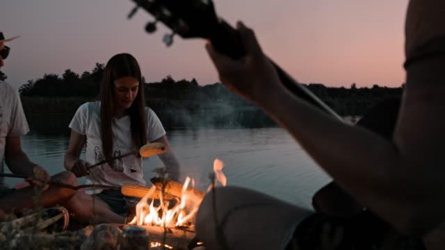 vídeos de stock e filmes b-roll de slo mo group of young people camping by the lake - 20 24 anos