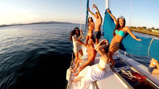 group of young people having fun on yacht - yachting stock videos & royalty-free footage